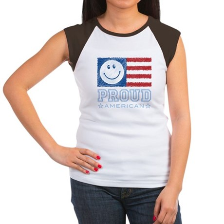 Smiley Face Proud American Women's Cap Sleeve T-Sh
