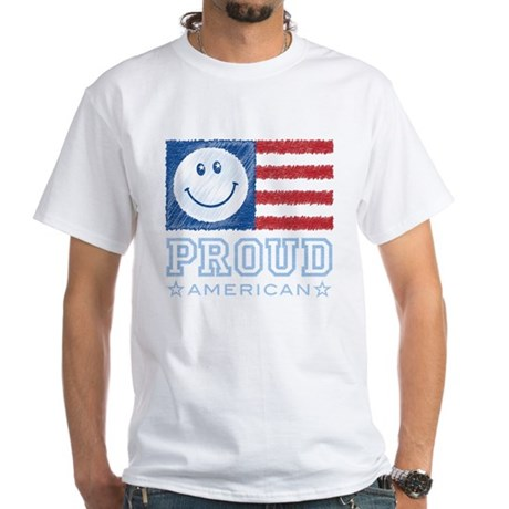 Smiley Face Proud American White T-Shirt