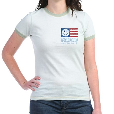 Smiley Face Proud American Jr. Ringer T-Shirt