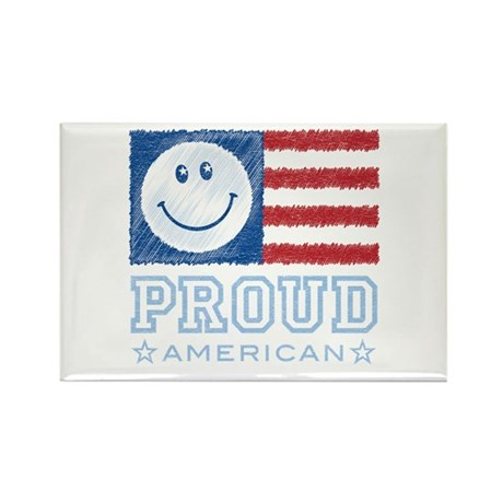Smiley Face Proud American Rectangle Magnet