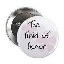 Pink Flowers Maid of Honor Button