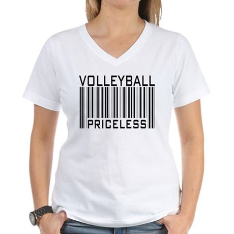 Volleyball Priceless Bar code Women's V-Neck T-Shi