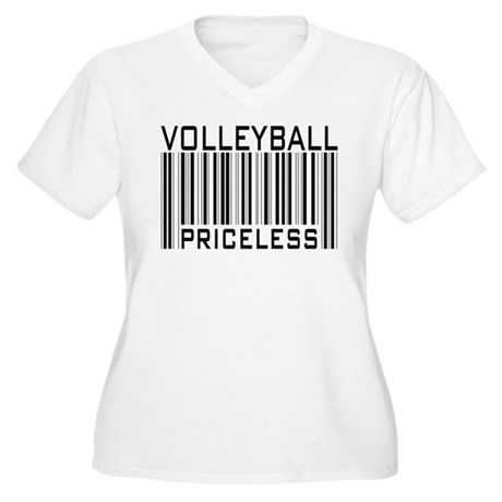 Volleyball Priceless Bar code Women's Plus Size V-