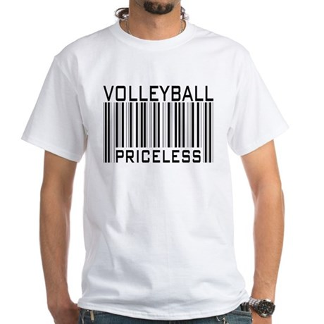 Volleyball Priceless Bar code White T-Shirt
