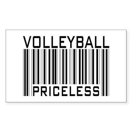 Volleyball Priceless Bar code Sticker (Rectangular