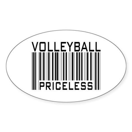 Volleyball Priceless Bar code Oval Sticker
