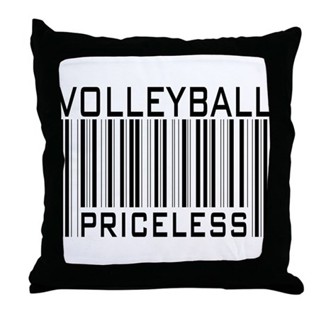 Volleyball Priceless Bar code Throw Pillow