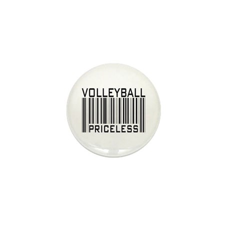 Volleyball Priceless Bar code Mini Button (10 pack
