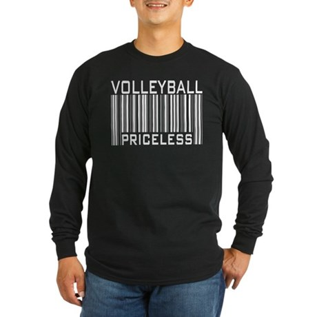 Volleyball Priceless Bar code Long Sleeve Dark T-S