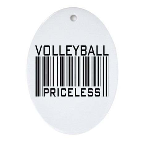 Volleyball Priceless Bar code Oval Ornament