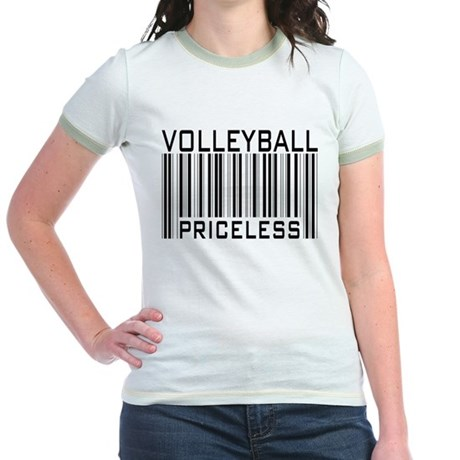 Volleyball Priceless Bar code Jr. Ringer T-Shirt