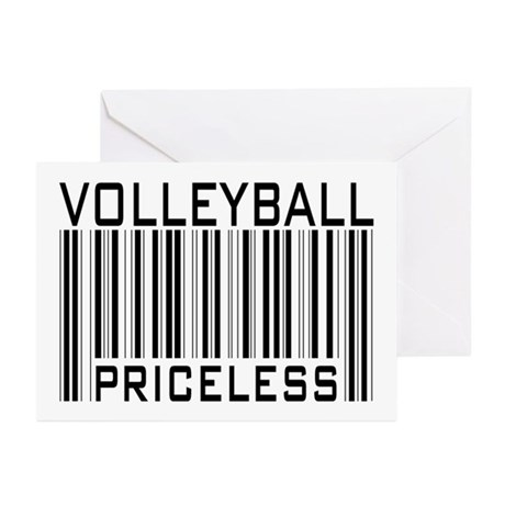 Volleyball Priceless Bar code Greeting Cards (Pk o