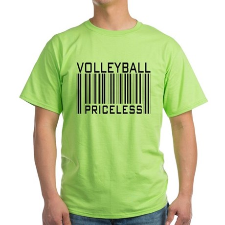 Volleyball Priceless Bar code Green T-Shirt