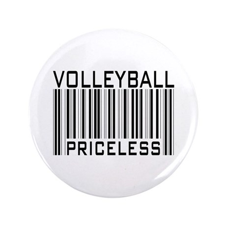 "Volleyball Priceless Bar code 3.5"" Button (100 pac"