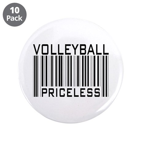 "Volleyball Priceless Bar code 3.5"" Button (10 pack"