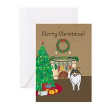 Sheltie Merry Christmas Greeting Cards (Pk of 20)
