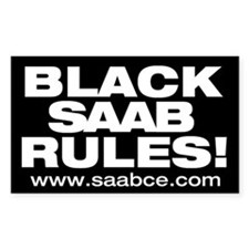 """Black Saab Rules"" 5x3 sticker"
