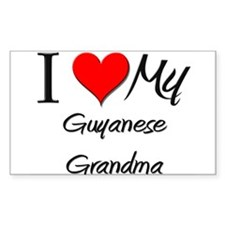 I Heart My Guyanese Grandma Rectangle Decal