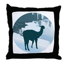 Scenic Winter Alpaca Throw Pillow