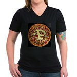 The Great Pizza Monogram Women's V-Neck Dark T-Shi