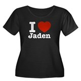I love Jaden Women's Plus Size Scoop Neck Dark T-S