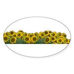 Sunflower Field Oval Sticker