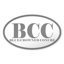 BCC Abbreviated Blue-Crowned Conure Oval Decal