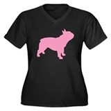 Pink French Bulldog Women's Plus Size V-Neck Dark