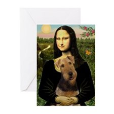 Mona Lisa & Airedale Greeting Cards (Pk of 10)