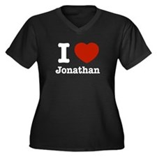 I love Jonathan Women's Plus Size V-Neck Dark T-Sh
