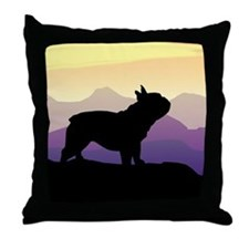 Frenchie Purple Mt. Throw Pillow