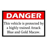 Danger Attack Blue and Gold Macaw Decal
