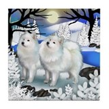 SAMOYED DOGS FROZEN RIVER Tile Coaster