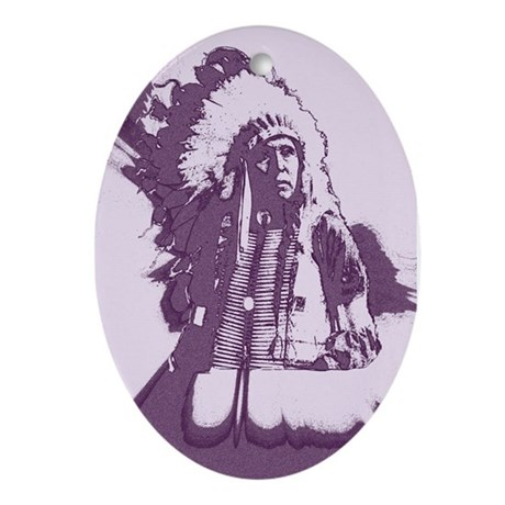 Indian Chief Oval Ornament