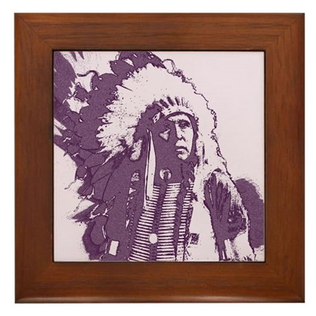 Indian Chief Framed Tile