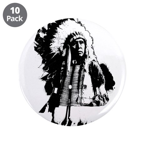 "Indian Chief 3.5"" Button (10 pack)"