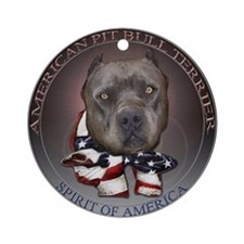Blue Pit Bull Spirit design Ornament (Round)