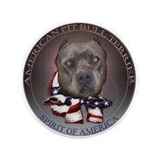 "Blue Pit Bull Spirit design 3.5"" Button"
