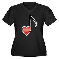 Valentine Music Note Heart Women's Plus Size V-Nec