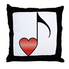 Valentine Music Note Heart Throw Pillow