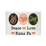 Peace Love Grasshopper Kung Fu Rectangle Magnet (1