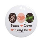 Peace Love Grasshopper Kung Fu Ornament (Round)