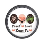 Peace Love Grasshopper Kung Fu Wall Clock