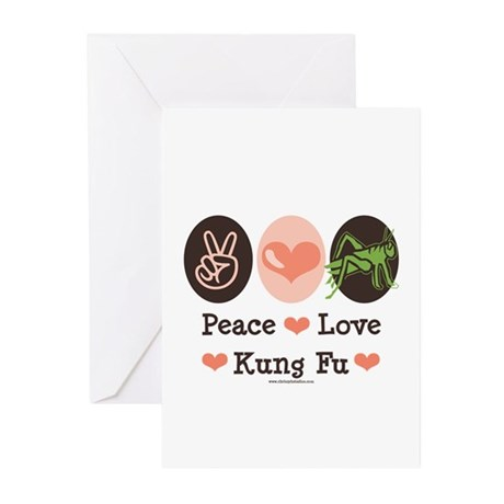 Peace Love Grasshopper Kung Fu Greeting Cards (Pk
