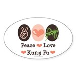Peace Love Grasshopper Kung Fu Oval Sticker
