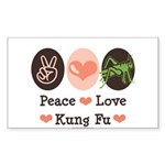 Peace Love Grasshopper Kung Fu Sticker (Rectangula