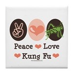Peace Love Grasshopper Kung Fu Tile Coaster
