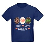 Peace Love Grasshopper Kung Fu Kids Dark T-Shirt