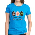 Peace Love Grasshopper Kung Fu Women's Dark T-Shir