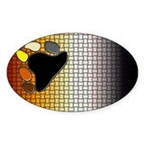 BEAR PRIDE flag/WOVEN LOOK Oval Decal